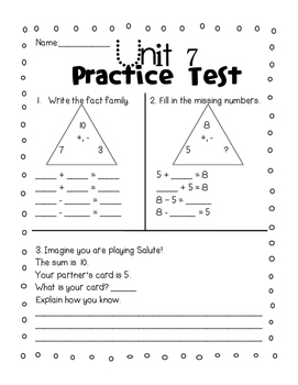 Everyday Math Grade 1 Unit 7 Practice Tests