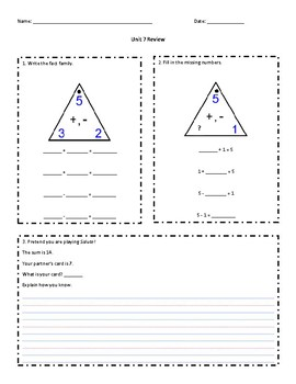 Everyday Math Grade 1 Unit 7 Review