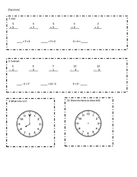 Everyday Math Grade 1 Unit 7 Review (version 2)