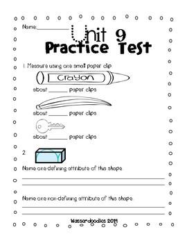 Everyday Math Grade 1 Unit 9 Practice Tests