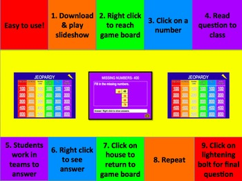Everyday Math Grade 2 Unit 1 Jeopardy Review Game