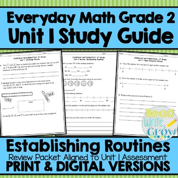 Everyday Math Grade 2 Unit 1 Study Guide/Review {Establishing Routines} UPDATED