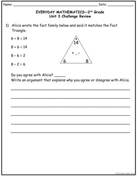 Everyday Math Grade 2 Unit 3 Study Guide/Review {More Fact Strategies} UPDATED