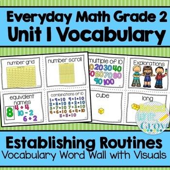 Everyday Math: Grade 2-Unit 1 {Vocabulary Word Wall}