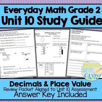 Everyday Math Grade 2 Unit 10 Study Guide/Review {Decimals & Place Value}