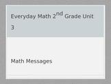 Everyday Math Grade 2 Unit 3 Math Messages