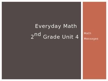 Everyday Math Grade 2 Unit 4 Math Messages