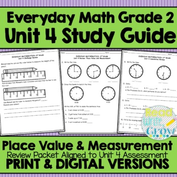 Everyday Math Grade 2 Unit 4 Study Guide Review PlaceValue Measurement