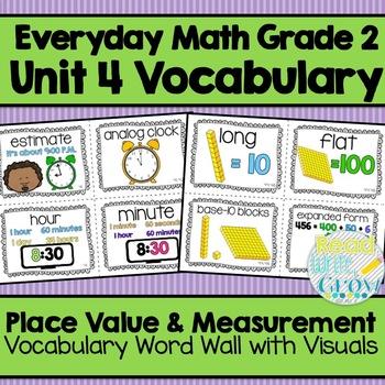 Everyday Math: Grade 2-Unit 4 {Vocabulary Word Wall}