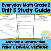 Everyday Math Grade 2 Unit 5 Study Guide/Review {Addition & Subtraction}