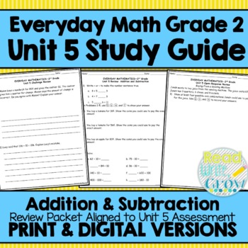 Everyday Math Grade 2 Unit 5 Study Guide/Review {Addition