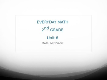 Everyday Math Grade 2 Unit 6 Math Messages
