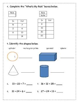 Everyday Math Grade 2 - Unit 7 Review