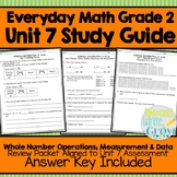 Everyday Math Grade 2 Unit 7 Study Guide/Review {Whole Numbers,Measurement,Data}