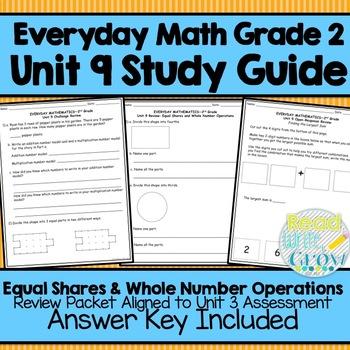 Everyday Math Grade 2 Unit 9 Study Guide/Review {Equal Sha
