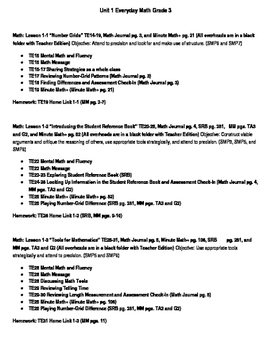 Everyday Math Grade 3 Unit 1 Lesson Plans (Orange book wit