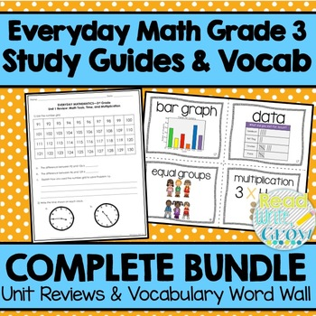 Everyday Math Grade 3-Study Guides & Vocabulary Word Wall