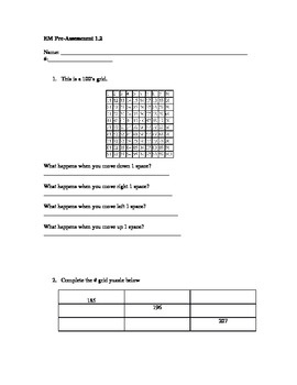Everyday Math- Grade 3- Unit 1 Lesson 1.2 Pre and Post ASsessment
