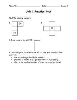 Everyday Math Grade 3 Unit 1 Practice Test