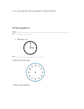 Everyday Math- Grade 3- Unit 1 Pre and Post Assessments