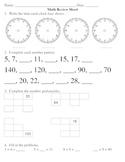 Everyday Math, Grade 3, Unit 1 Review Worksheet #3