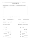 Everyday Math, Grade 3, Unit 1 Review Worksheet #5