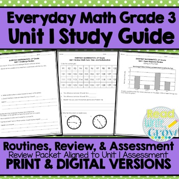 Everyday Math Grade 3 Unit 1 Review {Math Tools, Time, & Multiplication} UPDATED