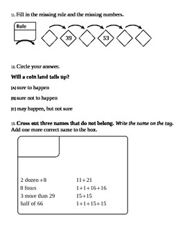 Everyday Math:  Grade 3 -  Unit 1 and 2 Study Guides