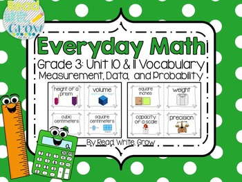 Everyday Math: Grade 3-Unit 10 and 11 {Vocabulary Word Wall}