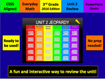Everyday Math Grade 3 Unit 2 Jeopardy 2016 Edition