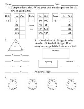 Everyday Math, Grade 3, Unit 2 Review Worksheet #3 by Brooke Beverly