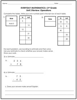 Everyday Math Grade 3 Unit 3 Review/Study Guide {Operations} UPDATED