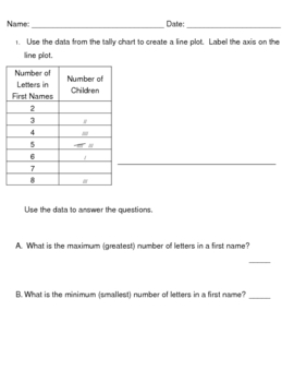 Everyday Math, Grade 3, Unit 3, Tally Chart-Line Plot-Data