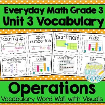 Everyday Math: Grade 3-Unit 3 {Vocabulary Word Wall}