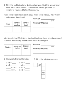 Everyday Math, Grade 3, Unit 4 Review Worksheet #2