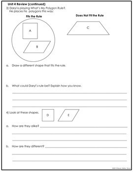 Everyday Math Grade 3 Unit 4 Review/Study Guide {Measurement & Geometry} UPDATED
