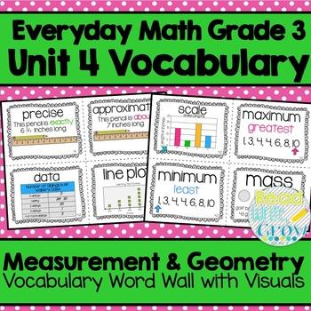 Everyday Math: Grade 3-Unit 4 {Vocabulary Word Wall}