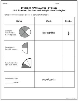 Everyday Math Grade 3 Unit 5 Review {Fractions & Multiplication} UPDATED