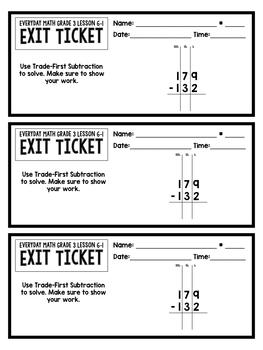 Everyday Math Grade 3 Unit 6 Exit Tickets