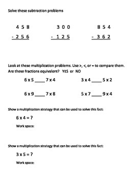 Everyday Math Grade 3 Unit 6 Pretest EM4