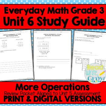 Everyday Math Grade 3 Unit 6 Review/Study Guide {More Operations ...