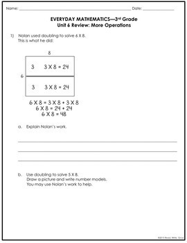 Everyday Math Grade 3 Unit 6 Review/Study Guide {More Operations} UPDATED