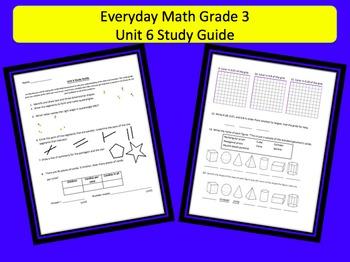 Everyday Math Grade 3 Unit 6 Study Guide & Key
