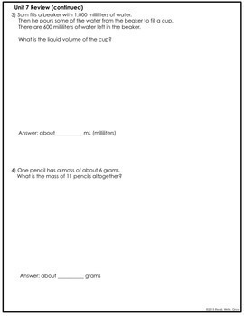 Everyday Math Grade 3 Unit 7 Review/Study Guide {Fractions} UPDATED