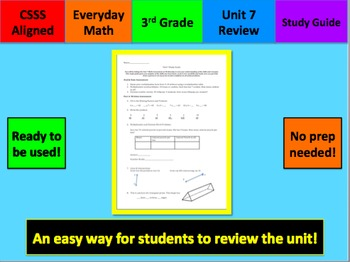 Everyday Math Grade 3 Unit 7 Study Guide & Key