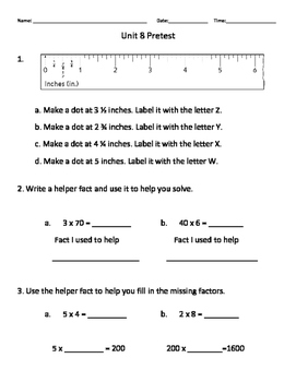 Everyday Math Grade 3 Unit 8 Pretest EM4