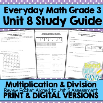 Everyday Math Grade 3 Unit 8 Review/Study Guide ...