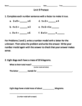 Everyday Math Grade 3 Unit 9 Pretest EM4