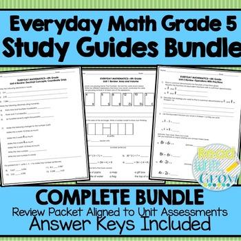 Everyday Math Grade 5-Study Guides & Vocabulary Word Wall *BUNDLE*