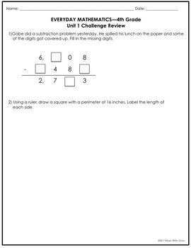 Everyday Math Grade 4 Unit 1 Review {Place Value; Addition & Subtraction}